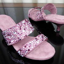 Joan Boyce Blush Rhinestone Kitten Heel Mules Slides Size 9w Euc Photo