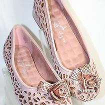 Joan Boyce Blush & Rose Gold Laser Cut Suede & Leather Comfort Flats 7m  Photo
