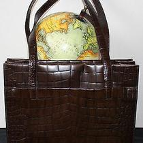 Joan David Leather Brown Satchel Bag Croc Purse Made in Italy  Photo