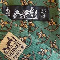 Jockey on Rocking Horse Authentic Hermes Silk Tie - 7373pa - Excellent Condition Photo
