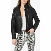 Joe's Jeans Lacey Black Asymmetrical Leather Moto Jacket Women Size M 698 Photo