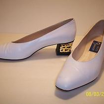 Joel Parker High End White Italian Leather & Gold Embellished Heels Pumps Size 9 Photo
