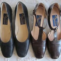 Joel Parker Sz 8 Aaaaa 5a Narrow Womens Shoes 2 Pair Black Brown Flats Italy  Photo
