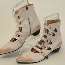 John Fluevog Truths Petrea Womens 11 Blush Spazzolato Leather Buckled Boots Nm Photo