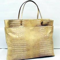 John Galliano Paris Monumental Lilac Embossed Croc Leather Tote With Gold Accent Photo