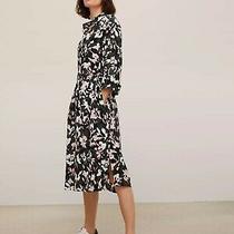 John Lewis Pink Black Bloom Print 1/2 Sleeves Tie Midi Shirt Dress Uk 8 Bnwt Photo