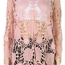 John Mark Women's Top Blush Pink Size Large L Crochet-Knit Tunic 73 012 Photo