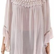 John Paul Richard Women's Knit Top Blush Pink Size 2x Plus Crochet 58 278 Photo