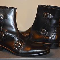 John Varvatos Black Leather Buckle Boots Size 8...msrp 800 Photo