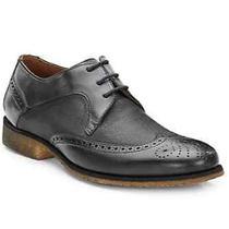 John Varvatos Black Leather/textile Gum Sole Oxford Size 10.5 Photo