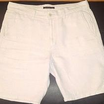 John Varvatos Men's Triple Needle Linen Shorts Fossil Grey Size 33 but Really 36 Photo