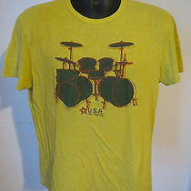 John Varvatos Star Usa Short Sleeve Lime Green Tee T-Shirt Drum Kit Detail M Med Photo