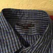 John Varvatos Xl Navy Striped Ls Shirt Photo