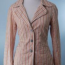 Johnny Was 498 Blush Pink Long Sleeve Stripe Cotton Jacket Size Small Photo