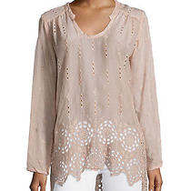 Johnny Was Collection Blush Long Shirred-Yoke Eyelet Tunic Blouse New 245  L Photo
