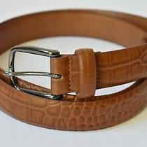 Johnston & Murphy Croc Embossed Leather Belt Brown Size 42 Photo