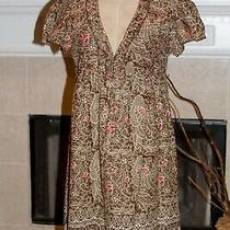 Joie 100% Cotton Lined Cap Sleeve Dress Size M Brown Tones Dry Clean Only Photo