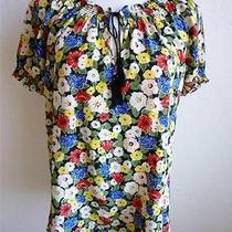 Joie 100% Silk Cha Cha Floral Masha Multi-Color Short Sleeve Top Blouse Sz Xs Photo
