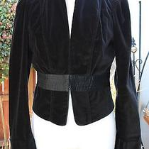 Joie 398 Black Velvet Jacket Silk Waistband Puff Shoulders Long Cuff S/m Photo