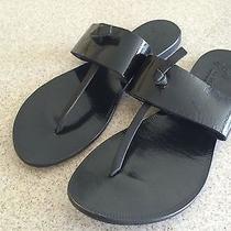 Joie a La Plage Nice T-Strap Black Patent Leather Sz 37.5  7.5 Thongs Sandals  Photo
