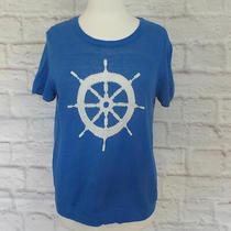 Joie Abiel Nautical Intarsia Sweater Knit Top Sz L Linen Blend Blue Helm Photo