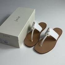 Joie Baylin Womens Thong Sandals White Leather T-Strap Italy Sz 38 38.5 Us 8 8.5 Photo