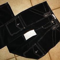 Joie Black Fine Wale Stretch Corduroy Straight Leg Cargo Pants 24 X 32  Photo