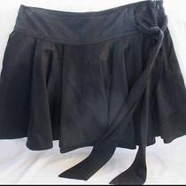 Joie Black Satin Side Tie Mini Circle Skirt Size 2 Photo