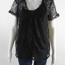 Joie Black Short Sleeve Lace Blouse With Tank Top Sz Xs Photo