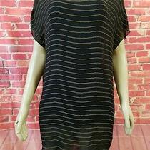 Joie Black Silk Short Sleeve Metal Chain Stripes Mini Women's Dress Size Xs (B1) Photo