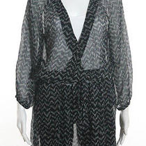 Joie Black Stone Sheer Chevron Print 3/4 Sleeve v Neck Wrap Dress Sz M Photo