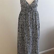 Joie Blue White Hawaiian Floral Print Summer Cotton Boho Maxi Halter Dress L Euc Photo