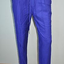 Joie Bright Purple Drawstring Silk Straight Leg Casual Pants Sz M Nwt 258 Photo