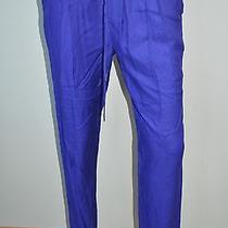 Joie Bright Purple Drawstring Silk Straight Leg Casual Pants Sz M Nwt 258 Photo