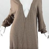Joie Brown Deep v-Neck Long Sleeve Knit Tunic Sweater Size L Xl Photo