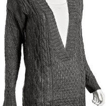 Joie Cable Knit 'Caitlin' v-Neck Sweater Heather Grey L Photo