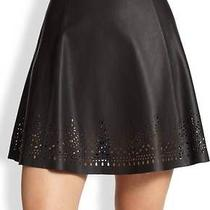 Joie Caviar Black Senica Laser Cut Leather Skirt 498 Nwt M Photo