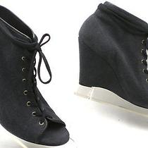 Joie Charcoal Gray Black Lace-Up Wedges Booties Open Toe Heels Boots 37.5 7.5 Photo