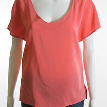 Joie Coral Silk Short Sleeve Scoop Neck Blouse Sz Xs Photo