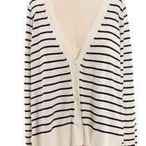 Joie Cream Black Wool Cashmere Blend Striped Cardigan Sz S Photo