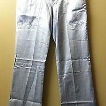 Joie Designer Light Powder Blue Satin Silky Comfy Logo Button Pants Size 25 or 0 Photo