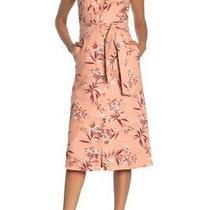 Joie Ethelda Size Small Nwt Pink Floral Tie Waist Linen Midi Dress Warm Blush Photo