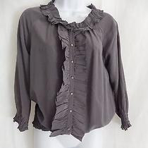 Joie Gray Silk Top Size Small With buttons& Ruffles Size Small Photo