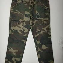 Joie Green Camo Cargo Crop Pants Sz 28 Button Fly  100% Cotton Womens 186-1060 Photo