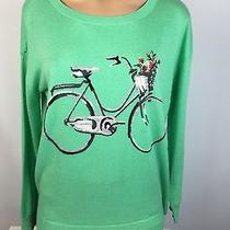 Joie Green Graphic Bicycle Intarsia Knit Sweater New 198 New Sz Small  Photo