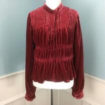Joie Gunshy Jacket Small Dark Red Velvet Lined Blazer Pleated Ruched  Photo