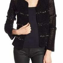 Joie Jacquine Caviar Black Open Front Embellished Crochet Cardigan Xxs Nwt 358 Photo