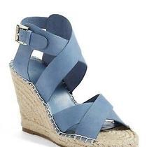 Joie Kaelyn Wedge Espadrille Strappy Leather Sandal Nib Cloud Blue 40/10 278 Photo