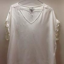 Joie Lace Trim Short Sleeve Silk Blouse White Medium Photo