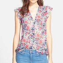 Joie 'Macy d' Floral Print Silk Top Sz Large  Photo